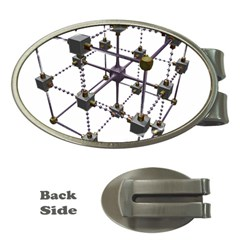 Grid Construction Structure Metal Money Clips (Oval)