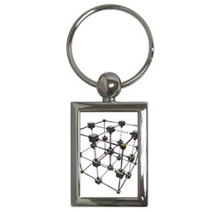 Grid Construction Structure Metal Key Chains (Rectangle)