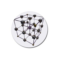 Grid Construction Structure Metal Rubber Round Coaster (4 pack)