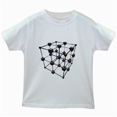 Grid Construction Structure Metal Kids White T-Shirts