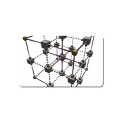Grid Construction Structure Metal Magnet (Name Card)