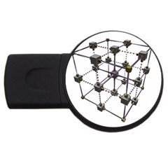 Grid Construction Structure Metal USB Flash Drive Round (2 GB)