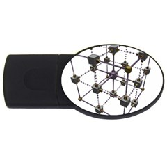 Grid Construction Structure Metal USB Flash Drive Oval (1 GB)