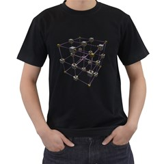 Grid Construction Structure Metal Men s T Shirt (black) (two Sided)