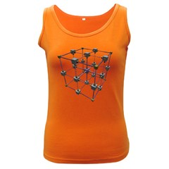 Grid Construction Structure Metal Women s Dark Tank Top