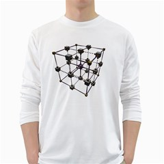 Grid Construction Structure Metal White Long Sleeve T-Shirts