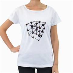 Grid Construction Structure Metal Women s Loose-Fit T-Shirt (White)