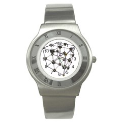 Grid Construction Structure Metal Stainless Steel Watch