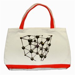Grid Construction Structure Metal Classic Tote Bag (Red)