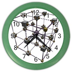 Grid Construction Structure Metal Color Wall Clocks