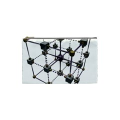 Grid Construction Structure Metal Cosmetic Bag (Small)