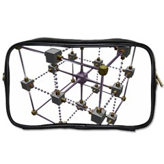 Grid Construction Structure Metal Toiletries Bags 2-Side