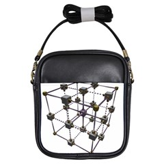 Grid Construction Structure Metal Girls Sling Bags