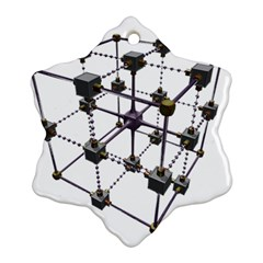Grid Construction Structure Metal Snowflake Ornament (Two Sides)