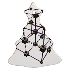Grid Construction Structure Metal Christmas Tree Ornament (Two Sides)