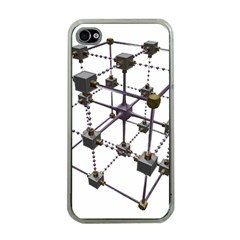 Grid Construction Structure Metal Apple iPhone 4 Case (Clear)