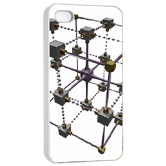 Grid Construction Structure Metal Apple iPhone 4/4s Seamless Case (White)