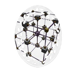 Grid Construction Structure Metal Oval Filigree Ornament (Two Sides)