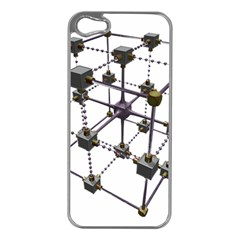 Grid Construction Structure Metal Apple iPhone 5 Case (Silver)
