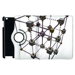 Grid Construction Structure Metal Apple iPad 2 Flip 360 Case