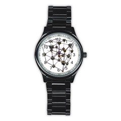 Grid Construction Structure Metal Stainless Steel Round Watch