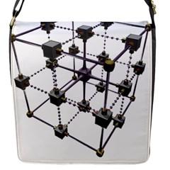 Grid Construction Structure Metal Flap Messenger Bag (S)