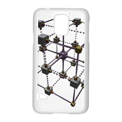 Grid Construction Structure Metal Samsung Galaxy S5 Case (White)