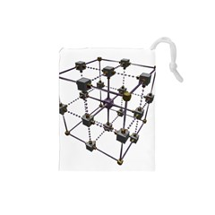 Grid Construction Structure Metal Drawstring Pouches (Small)