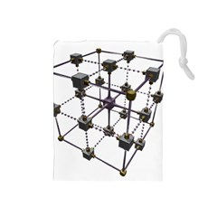 Grid Construction Structure Metal Drawstring Pouches (medium)