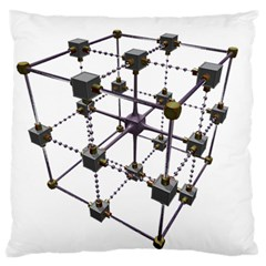 Grid Construction Structure Metal Large Flano Cushion Case (Two Sides)