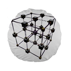 Grid Construction Structure Metal Standard 15  Premium Flano Round Cushions