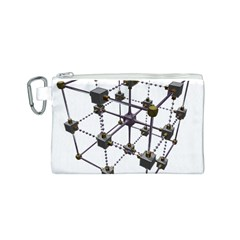 Grid Construction Structure Metal Canvas Cosmetic Bag (S)