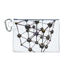 Grid Construction Structure Metal Canvas Cosmetic Bag (M)