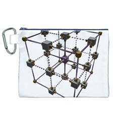 Grid Construction Structure Metal Canvas Cosmetic Bag (XL)