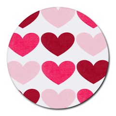 Valentine S Day Hearts Round Mousepads