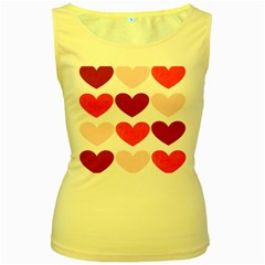 Valentine S Day Hearts Women s Yellow Tank Top