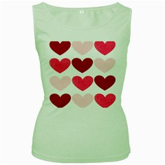 Valentine S Day Hearts Women s Green Tank Top