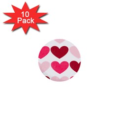 Valentine S Day Hearts 1  Mini Buttons (10 pack)
