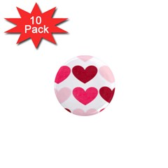 Valentine S Day Hearts 1  Mini Magnet (10 pack)