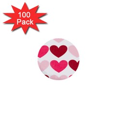Valentine S Day Hearts 1  Mini Buttons (100 pack)