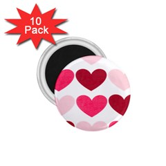 Valentine S Day Hearts 1.75  Magnets (10 pack)