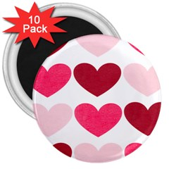 Valentine S Day Hearts 3  Magnets (10 pack)