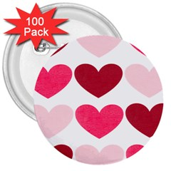 Valentine S Day Hearts 3  Buttons (100 pack)