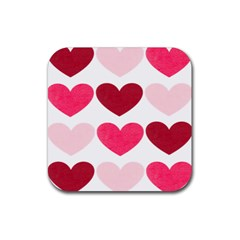 Valentine S Day Hearts Rubber Square Coaster (4 pack)