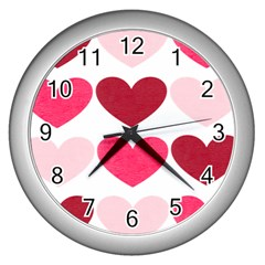 Valentine S Day Hearts Wall Clocks (Silver)