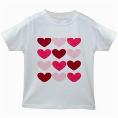 Valentine S Day Hearts Kids White T-Shirts