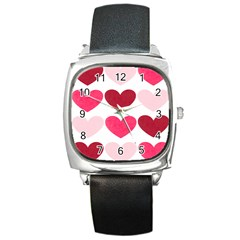Valentine S Day Hearts Square Metal Watch