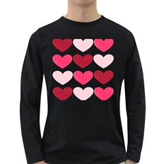 Valentine S Day Hearts Long Sleeve Dark T-Shirts