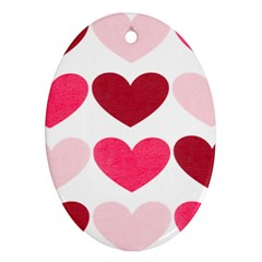 Valentine S Day Hearts Oval Ornament (Two Sides)