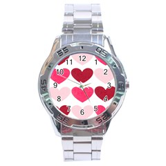 Valentine S Day Hearts Stainless Steel Analogue Watch